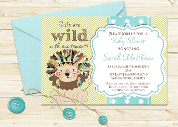 Jungle Theme Lion Baby Shower Invitation - Tribal Feather Animal Invite