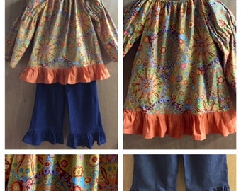 Hippie Peasant Top and Denim Ruffle Pants, girls size 8