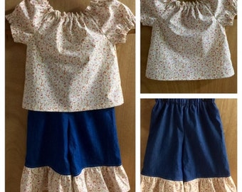 Spring Top and Ruffle Denim Capris, size 4t