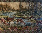 SALE--Large Vintage Velvet Deer Tapestry Wall Hanging or Rug
