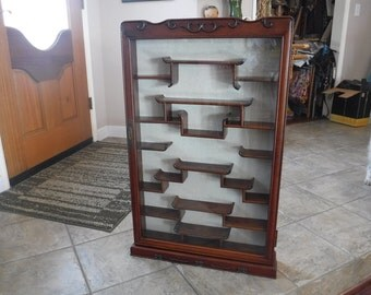 Vintage Chinese Curio Cabinet/Display  with Beautiful Carvings Brass accents Rosewood