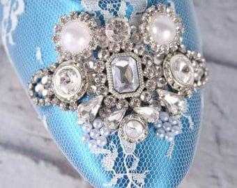 Blue Wedding Shoes, Something Blue Wedding, Lace Bridal Shoes, Ivory Lace Shoes, Vintage Wedding, Custom Wedding, Kitten Heels, Wedding Shoe