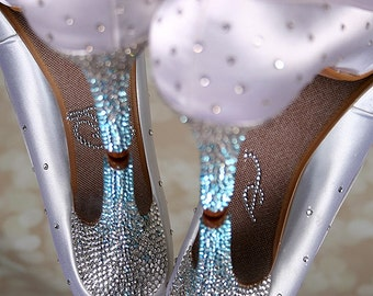 White Wedding Shoes, Wedding Shoe Bling, Sparkly Bridal Shoes, Something Blue Shoes, Ombre Wedding, Crystal Wedding Shoes
