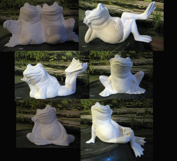 "Choice, 6"", Frog with Attitude,Fairy Garden, Garden frog, Garden ornament, Sitting Frog, lying frog,ready to paint,u-paint,Ceramic bisque"