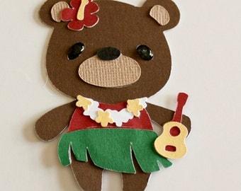 New Teddy bear die cut Hula Girl