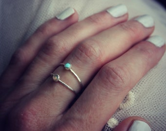 Opal and Turquoise ring - sterling silver. Double ring - sterling silver stackable skinny rings