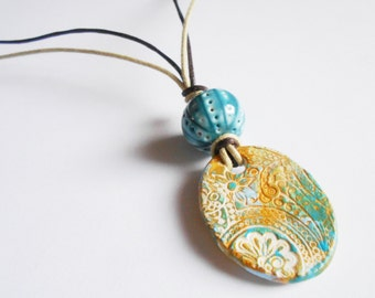 turquoise & mustard pendant necklace, paisley cord necklace, aqua everyday necklace, boho chic jewelry, unique necklace, gift for her