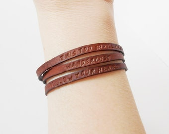 custom hand stamped leather cuff, personalized cuff, message cuff, personalized bracelet, inspirational customised cuff, gift for her him