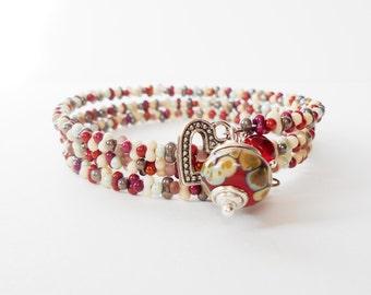 red wraparound bracelet, metallics memory wire bracelet, stacking bracelet, artisan bead charm bracelet, boho jewelry, gift for her