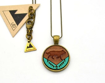 Patterned Wolf - Small Wood Necklace