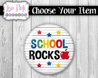 Choose Your Item - Teacher Button Pin, Button Pin, Teacher Magnet, Magnet, Teacher Pocket Mirror, Pocket Mirror, School Rocks