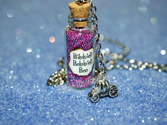 Cinderella Necklace, Fairy Godmother, Bibbidi-Bobbidi-Boo Bottle of Magic Necklace and Pumpkin Carriage Charm, Disney bound, Disney Cosplay