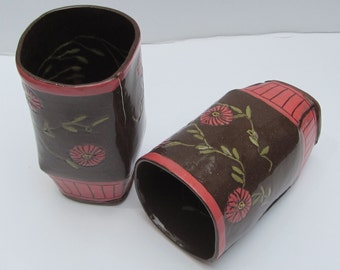 ceramic flower tumbler; ceramics and pottery; hand built pottery; flower mug
