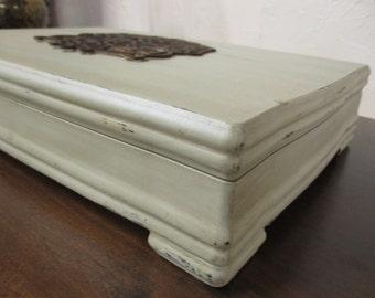 Jewelry Box Vintage Keepsake Box Refinished in Butternut  Jewelry Storage Home Decor Organization Wood Box Handmade