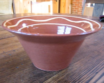 Dorothy Long Redware Slip Painted Bowl Hand Signed 1985 Pennsylvania Pottery