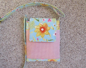 Quilted Cell Phone and Tablet Purse with Gold Flowers on a Baby Blue Background with Front Pocket and Velcro Closure Crossbody/Shoulder Bag