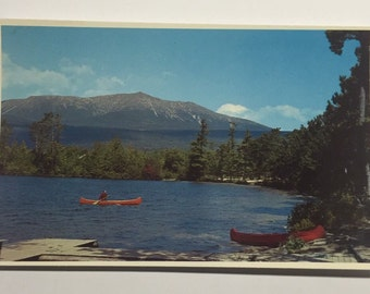 1950s Vintage Postcard View of Mt. Katahdin from Togue Pond  Maine