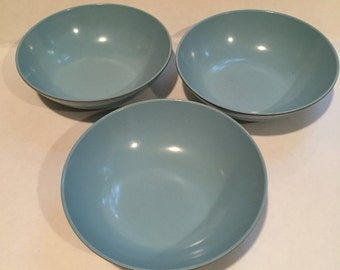 "3 Melmac Texas-Ware Bowls by PMC Quality J Value G-12 Bowls: 5.5"" Aqua Turquise"