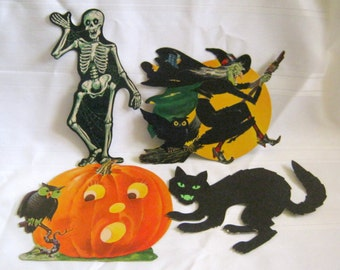 Vintage HALLOWEEN Skeleton Witch Pumpkin Cat Window Wall Cardboard DISPLAY 4 items