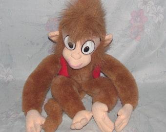 "Vintage 1992 Disney Aladdin Abu Plush - Stuffed Animal - 16"" - Monkey with Red Vest & Fez - Abu Mattel Plush Monkey From Aladdin Movie"