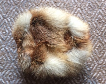 Vintage 50's 60's Cossack Russian style fox fur hat