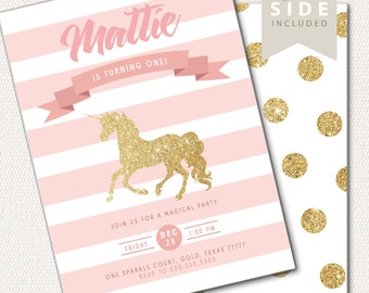 Unicorn First Birthday Invitation, Pink and Gold Glitter, 1st Birthday Invite, Girl Birthday Invitation, Printable, Polka Dots, Stripes