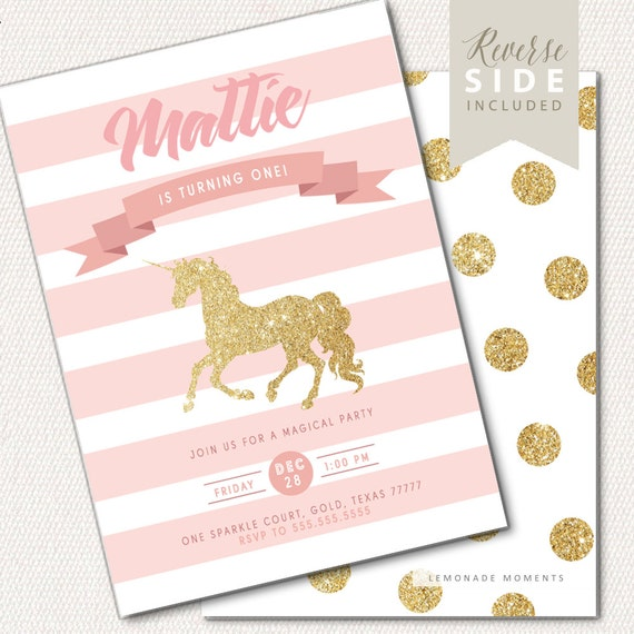 Unicorn First Birthday Invitation Pink And Gold Glitter St - First birthday invitations girl pink and gold