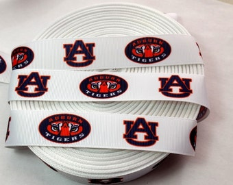 "5 YARDS-7/8"" Auburn Tigers Grosgrain Ribbon-5 YARDS"