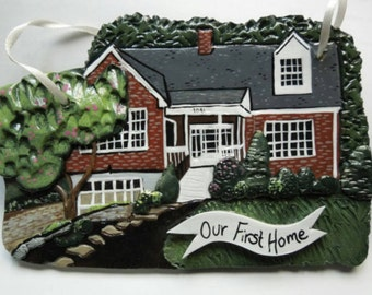 Custom house ornament - handmade clay ornament, perfect Housewarming & first Christmas gift!