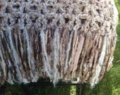 Cream White Tan Crochet Blanket Throw Afghan with Fringe Thick Bulky Unique One Of A Kind Hippie Boho Gypsy