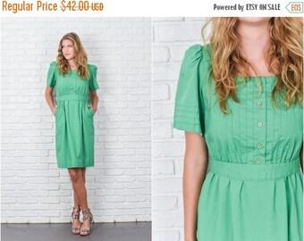 ON SALE Vintage 70s Green Boho Dress Puff Sleeve Knee length Medium M 7766 vintage dress green dress medium dress 70s dress vtg dress