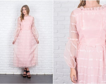 Vintage 60s 70s Pink Mod Dress Sheer Slv Striped Bow Ruffle Maxi Small S 5876