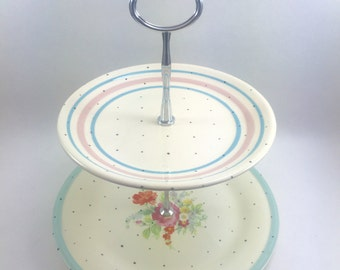 Hand Painted Polka Dot Jewelry Stand Vintage Florals