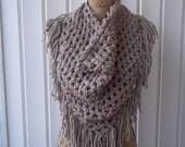 Ready To Ship Crochet Taupe Chunky Triangle Fringe BoHo Scarf/Wrap w/Button