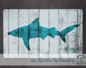Placemat - Shark | Shark Week Nautical Beach House Decor | Anti Skid/Non Slip Fabric Top Rubber Backed Awesomeness