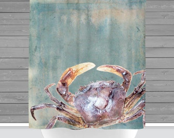 Blue Crab Shower Curtain: Nautical Beach House Water Inspired | 12 Eyelet/Button Hole | Size and Pricing via Dropdown