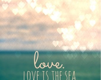 Love is The Sea Bokeh Hearts Ocean Product Options and Pricing via Dropdown Menu