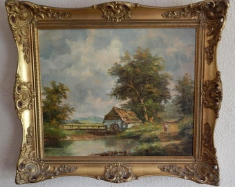 Sale Vintage European Genre Rural Cottage Landscape Oil Painting Art O/C Berger Ornate Gold Frame