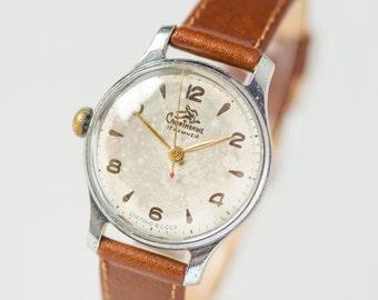 Rare unisex wristwatch Sportivnie, left handed positioning for winding stem watch,classic timepiece minimalist, genuine leather strap new