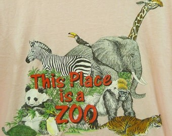 Vintage 80s 1988 This Place Is A Zoo Pink T-shirt