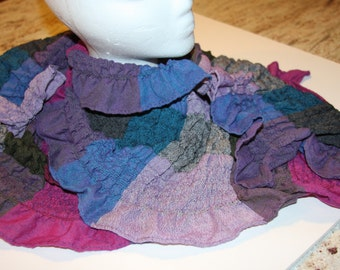 "Vintage Designer Cotton Ruched Scarf in Shades of Lavender, Gray, Rose, Aqua - 12 x 72"""
