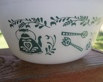 vintage federal milk glass bowl.. turquoise kitchen goodies pattern.. heat proof usa