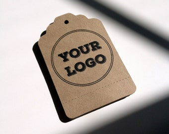 Merchandise Swing Tags Customized with Your Logo Handmade Items with Perforation for Gifting - Set of 100 - Large Kraft Brown