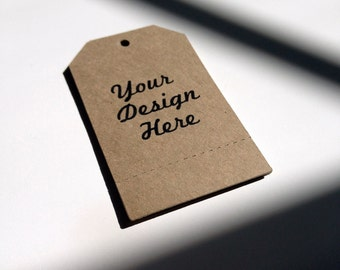 Perforated Tags Personalized with Your Logo or Custom Design -  200 Kraft Paper Brown Bag - Includes Printing - Wholesale Welcome