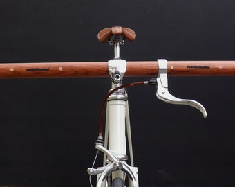 bubinga and maple wood straight bicycle handlebar