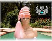 PEACHY PINK Wonder headdress headpiece hat with synthetic long hair in light pink