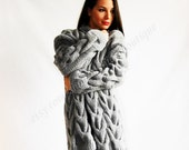 cardigan loose knit Cardigan hand knitting  loose sweater cable knit coat aran  cardigan  women's clothing handmade