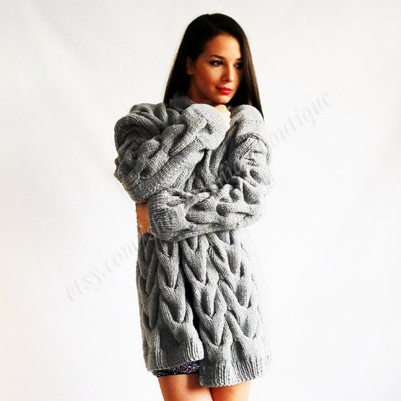 cardigan loose knit Cardigan hand knitting  loose sweater cable knit coat aran  cardigan  women's clothing handmade
