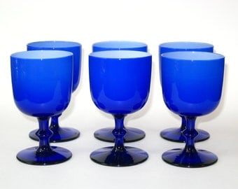 Set 6 Carlo Moretti Royal (Cobalt) Blue Cased Glass Red Wine Stems -Mid Century Italian Murano
