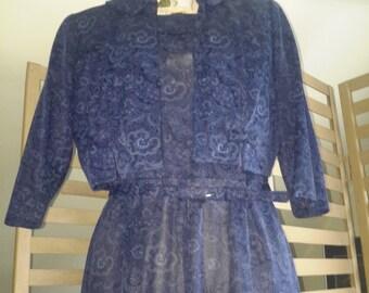 1950s Navy Paisley llusion Dress Bolero Jacket large